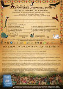 Certificado de Reconocimiento de las Naciones Unidas del Espíritu